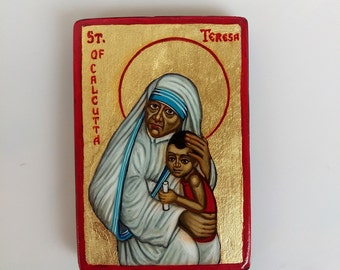 Mother Teresa mini painting, Saint Teresa of Calcutta original icon on wood