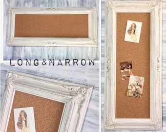 LONG & NARROW Cork Board Baroque Vintage White Kitchen Decor Wedding Memo Board Shabby Chic Home Message Board Home Organizer Bridal Gift