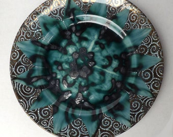 Up-cycled Kitty lustre large plate. One of a kind, Shiny, Swirly plate. Future heirloom, modern lustre ware, Klimt inspired