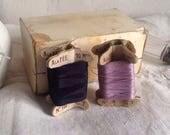 Antique Sewing Reels, Vintage Thread Bobbins, Mauve & Navy Blue French Haberdashery. 2pc Silk Cotton
