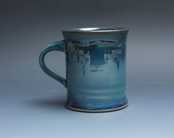 Pottery coffee mug, ceramic mug, stoneware tea cup navy blue 14 oz 3804a