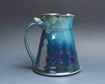 Sale - Handcrafted pottery sangria pitcher, 28 oz stoneware beverage pitcher deep blue 3916