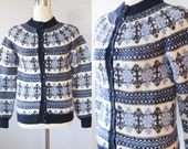 Vintage Classic DENMARK Hand Knit Wool Sweater / Dark Blue and White Fair Isle Cardigan Sweater / Size Small Paul Mage Made in Denmark