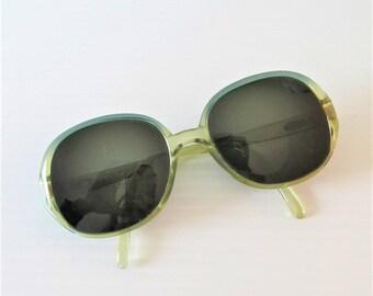 Vintage Christian Dior Designer Eyeglasses / Clear Green Large Frame Eye Wear Sunglasses ** FREE SHIPPING
