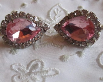 Vintage Silver Tone  Clip On Earrings With Large Teardrop Shaped Pink Rhinestone And Tiny Clear Faceted Rhinestones