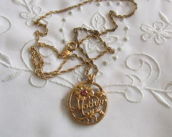 """Vintage Gold Tone Avon """"Mother"""" Flowered Necklace with Tiny Ruby"""