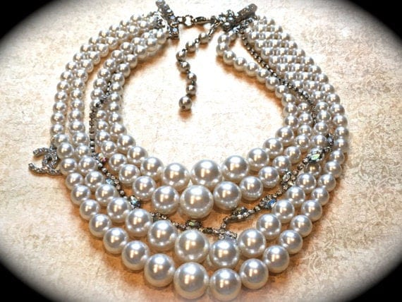 Chunky pearl necklace made with multi-strand ivory pearls a great brides statement necklace