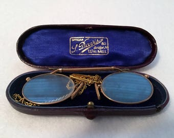 Edwardian Pince Nez Eyeglasses on Chain with Pin Original Case