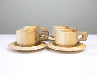 4 Fabrik Jim McBride Salishan Stoneware Pottery Cup and Saucer Sets