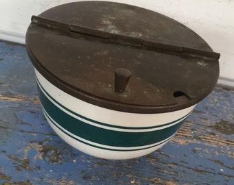 Vintage Sugar Bowl, Vintage Stoneware Bowl, Vintage Lidded Bowl, Tin Lid Bowl, Vintage Kitchen, Farmhouse Kitchen