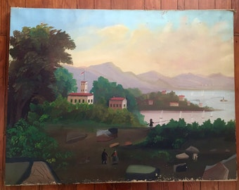 Large Vintage Scenic American Folk Art Primitive Painting Stretched Canvas Wood Frame Stretcher Early 1900s