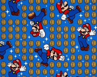 Destash Sale -Nintendo Super Mario Coin Toss Blue- By the Yard