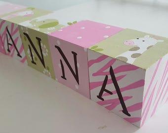 Personalized Baby Name Blocks- CUTE JUNGLE  Theme