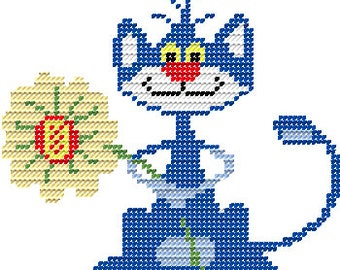 Plastic Canvas Frazzled Cat Wall Hanging Instant Download Pattern