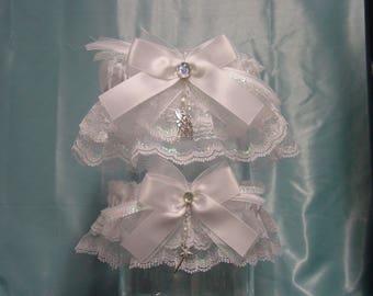 Tinkerbell White Iridescent Wedding Garter Set