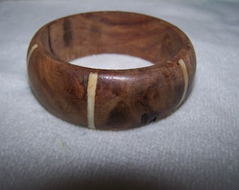 Wide Ox Bone Wood Inlaid Bangle Bracelet