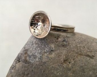 Reticulated Disc Sterling Silver Ring