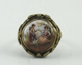 20 % Off Vintage Fragonard Courting Couple Cameo Porcelain Ring