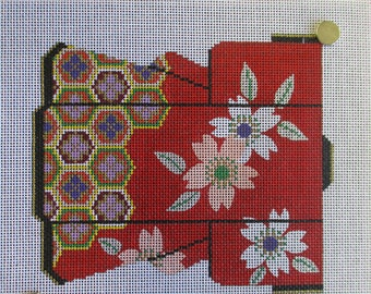 Needlepoint canvas handpainted Kimono Asian Oriental decor Lee 8 by 9 inches  no yarn included no instruction