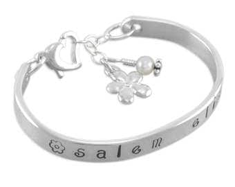 Flower Girl Bracelet, Childs Cuff, engraved, girls gift, personalized gifts, for niece, daugher, kids jewelry, heart, bangle, SALEM ELISE