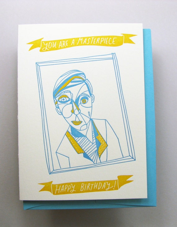 """Letterpress card,  """"You are a Masterpiece"""""""