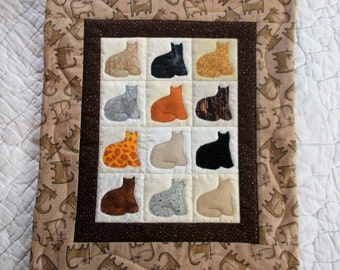 Cats By The Dozen Quilted Wall Hanging