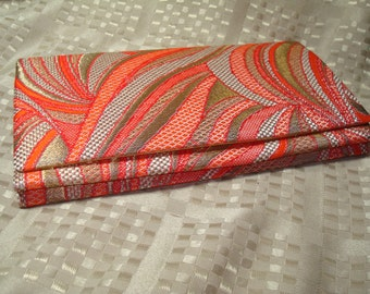 Groovy 1960s Tangerine Red with Gold Lame Clutch Handbag.