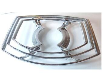 1960s Corning Ware Casserole Cradle Set of 3, Platinum Colored Trivet, Hot Plate Serving Platter Trays, P-11-M-1, P-11-2 1/2-M-1, P-10-M-1