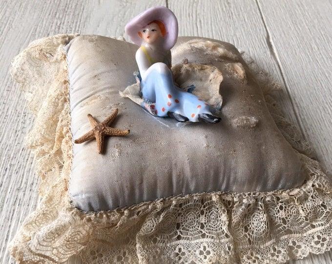 Antique Bathing Beauty Flapper Pincushion Sunbathing Coquette - As Is