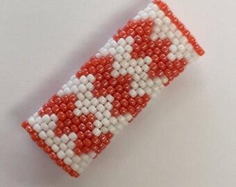 Chevron Dreadlock Beads - Orange and White  - Salmon ZigZag