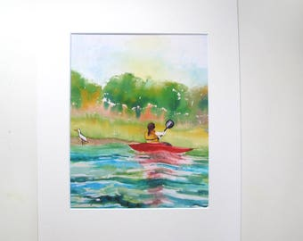 "Print of Silk Painting  ""Kayaker and the Egret"" Comes in 14 x 11 Mat, Ready to be Framed"