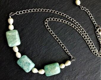 Amazonite Necklace, Amazonite Gemstone Necklaces, Green Necklaces, 18 Inch Necklace