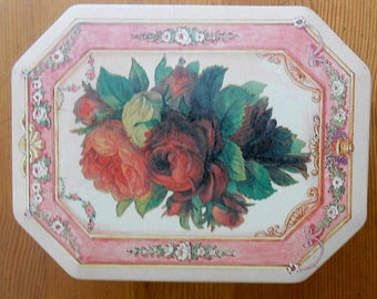 Vintage Victorian Pink and Red Rose Trinket Box or Notions Storage Tin