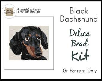 Black Dachshund Dog Larger Panel Peyote Seed Bead Pattern PDF or KIT DIY Animal Pet