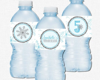 Winter Wonderland Water Bottle Labels, Water Bottle Wraps, Snowflake Party Printables, Blue and Silver Birthday