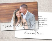 Wedding Thank You Card, Photo Thank You Card, Thank You Card, Printable Thank You Card, Modern Thank You card (Love and Thanks 2 sided)