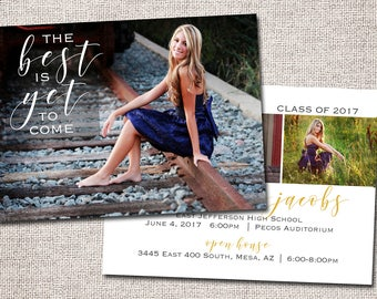 Graduation Announcement, Graduation Invitation, Photo Graduation Announcement, Printable Graduation Announcement (The Best is Yet to Come)