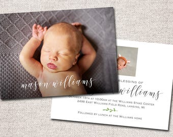 LDS Blessing invitation, LDS Baby Blessing invitation, baby blessing invite, boy, modern baby blessing invitation: PRINTABLE (Mason)