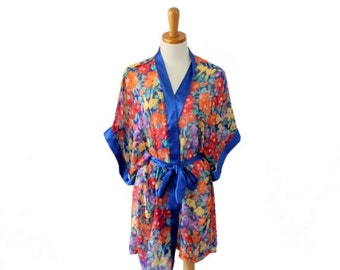 sale // Vintage 80s Sheer Tropical Flower Robe - Women One Size fits Many