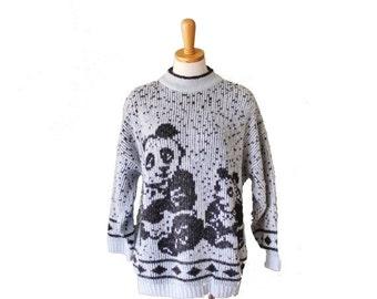 sale // Vintage 80s PANDA Mother Child Novelty Sweater - Women 2XL 3X