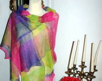 LINEN SCARF , sHAWL KNITTED - scarves,pareo,shrug, wrap, bella dance-rainbow  CoLLecTion 2017 linen