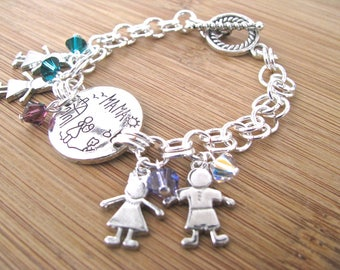 Personalized Mother's Day Bracelet - Silver Mama 2-on-1 Chain and Crystal Birthstone Child Charm Bracelet