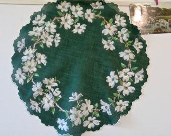 Vintage Round Dark Green Cotton Handkerchief with White Dogwood Blossoms