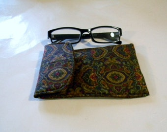 Brown Floral Eyeglasses Case