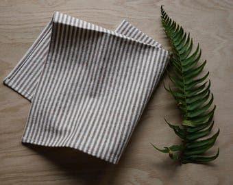 organic cloth napkins, brown stripes, set of 2, cloth napkins, organic cotton, eco-friendly, reusable, sustainable, brown napkins,