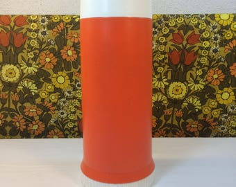 Vintage 70s Thermos Flask Orange White Without Handles Model 26 Campervan Picnic
