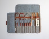 Knitting needle case, Circular needle case, Needle Organizer, Crochet case