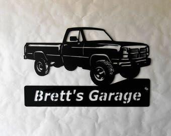 1993 Dodge Truck Personalized Man Cave Garage Sign Satin Black