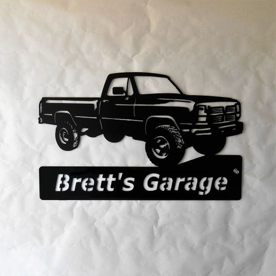 1993 Dodge Truck Personalized Man Cave Garage Sign Satin Black