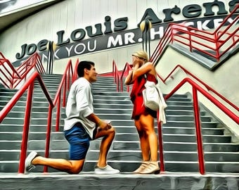 Marriage Proposal Engagement Photo Custom Portrait Custom Wedding or Anniversary Oil Painting Canvas 16x20